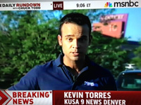 Former Syracuse TV reporter Kevin Torres appears on MSNBC while covering the Aurora shootings, July 2012.
